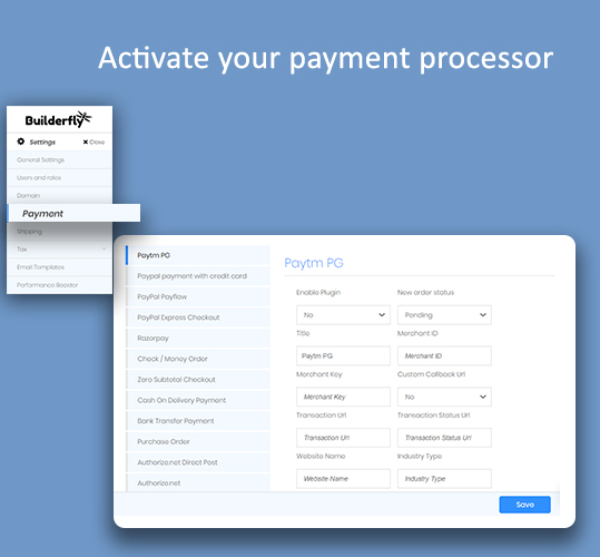 Activate your payment processor